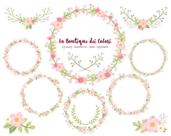 Pink Flower Wreath Clipart Cute Scrapbook PNG Laurel Wedding.