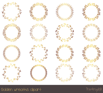 Gold borders and frames clipart, Round gold wreath clipart, Golden circle  frame.