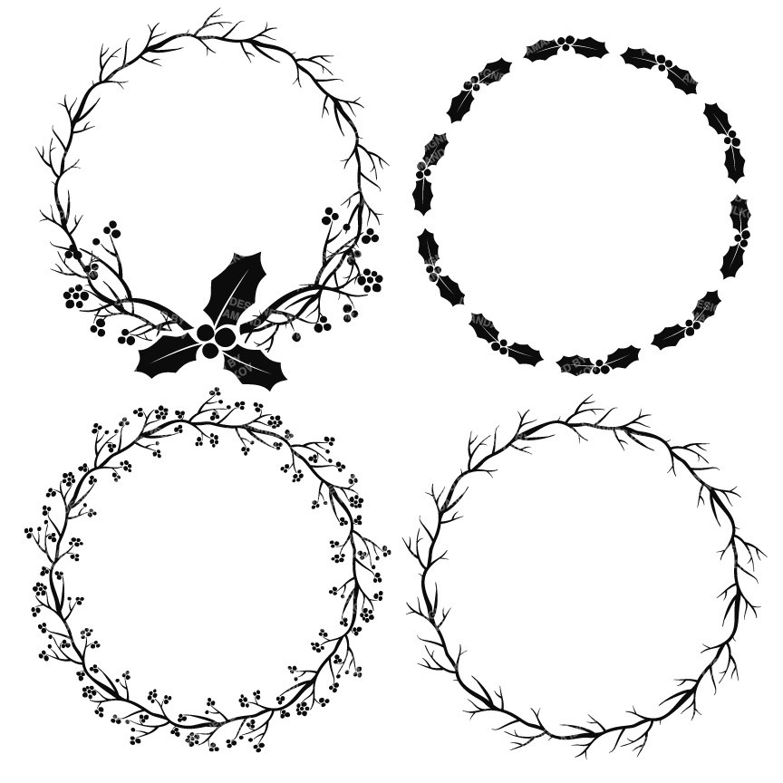 Free Flower Wreath Clipart Black And White, Download Free.