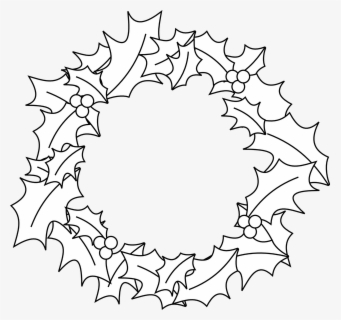 Free Black And White Wreath Clip Art with No Background.