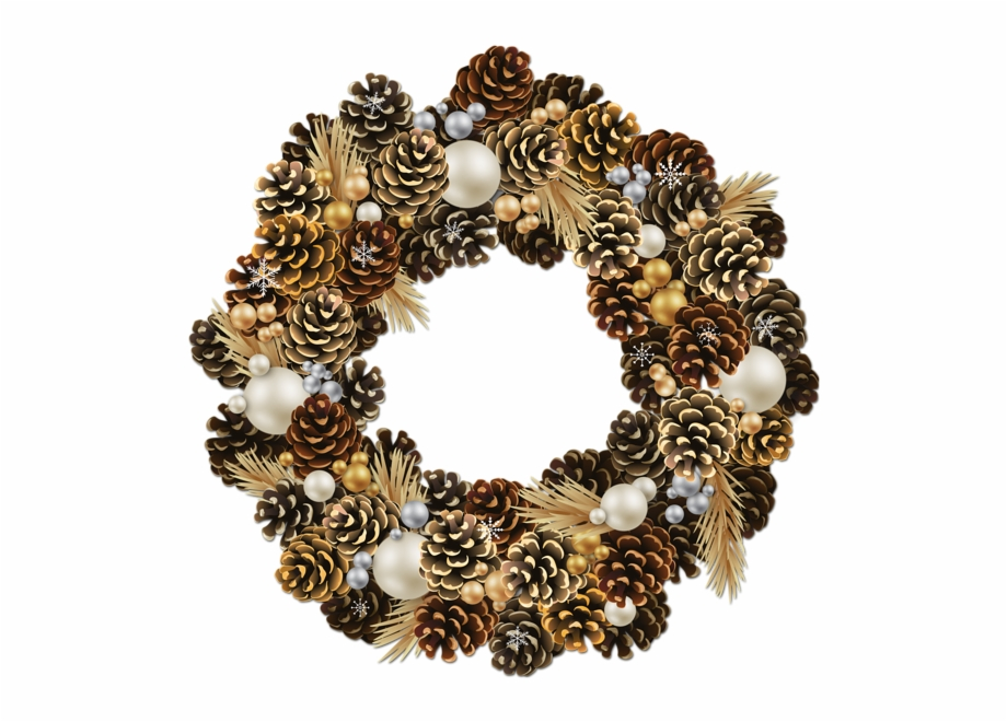 Pine Cone Clipart Pine Garland Gold Christmas Wreath.