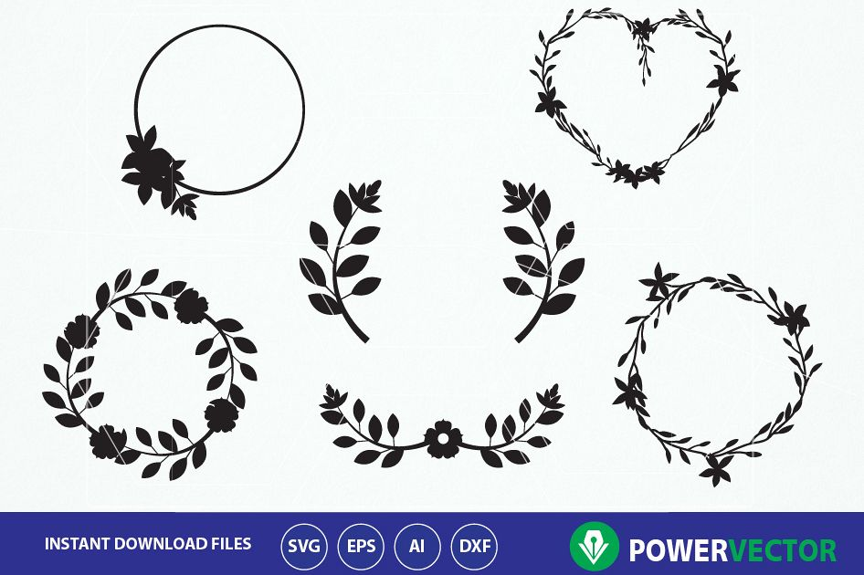 Floral Wreath Svg Collection. Invitation decoration clipart. Floral Wreath  svg frames. Floral svg elements.