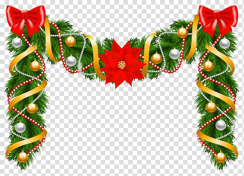 Christmas Garland Wreath Poinsettia , Garland transparent.