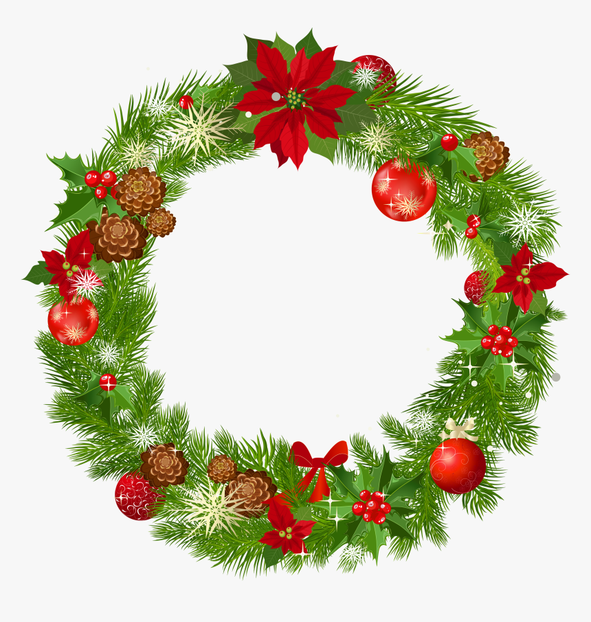 Holly Vertical Swag Wreath Clipart.