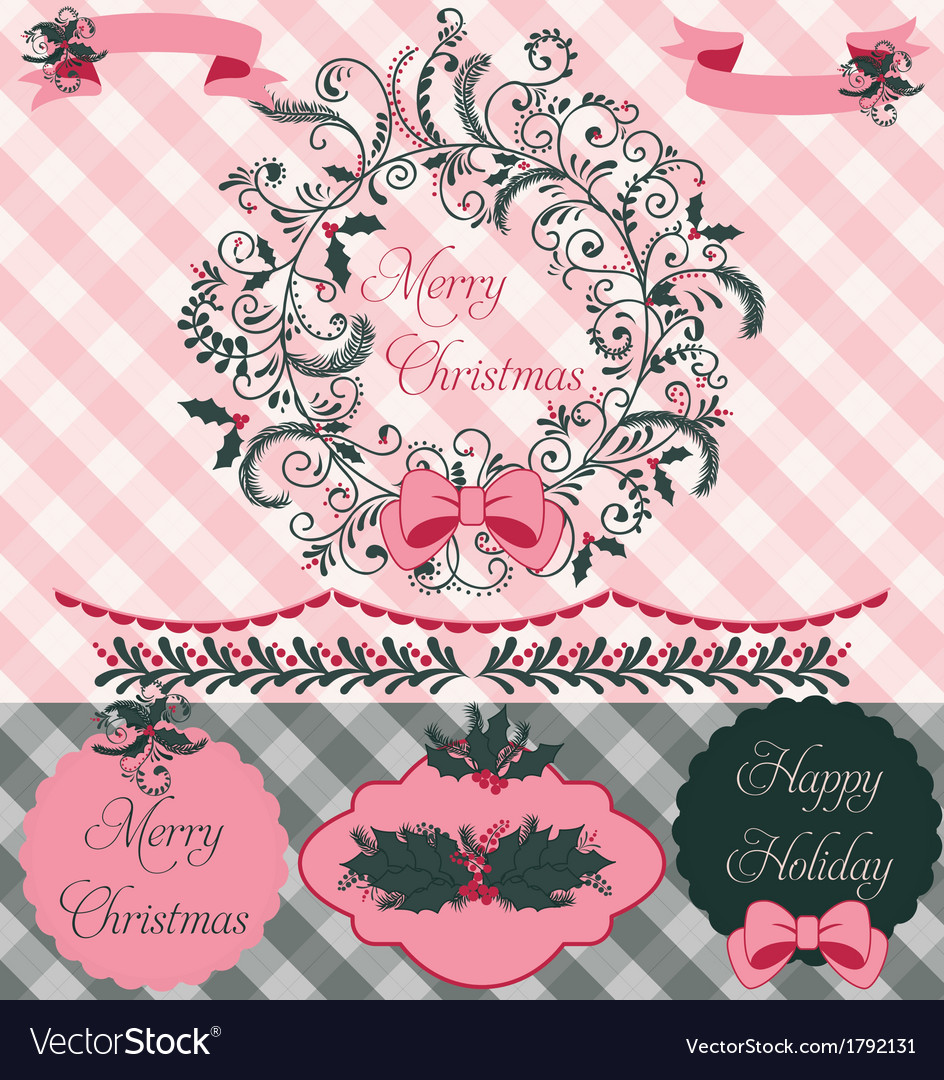 Christmas Wreath Clipart and Paper Set.