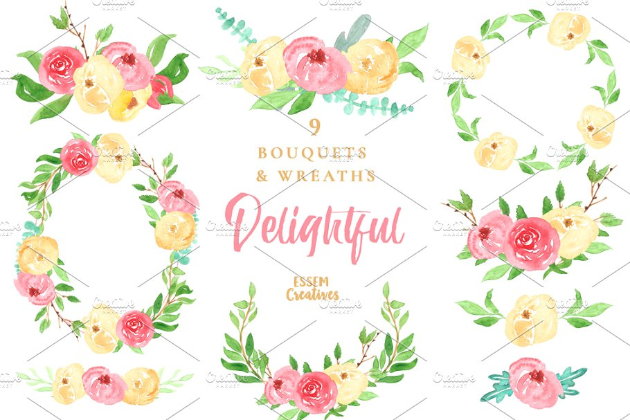Watercolor Floral Wreaths Clipart.