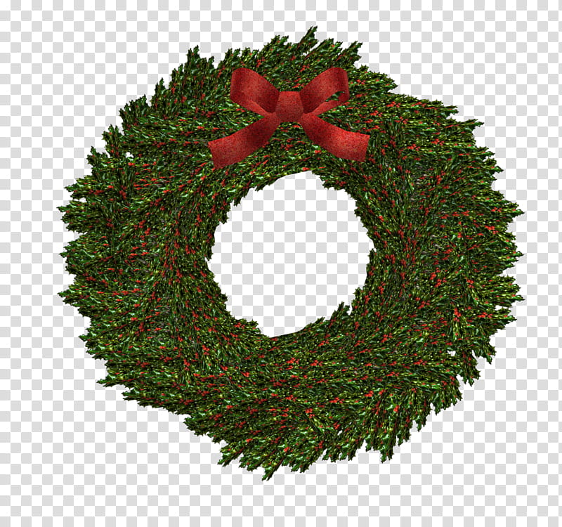 D Xmas Wreath, green and red wreath transparent background.