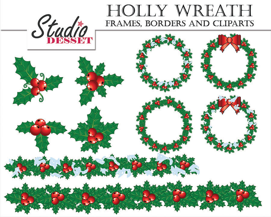 Holly Wreath Frames Borders and Cliparts Winter Digital Clip.