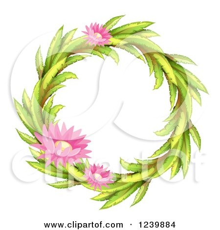 Clipart of a Round Leaf and Flower Wreath Frame.