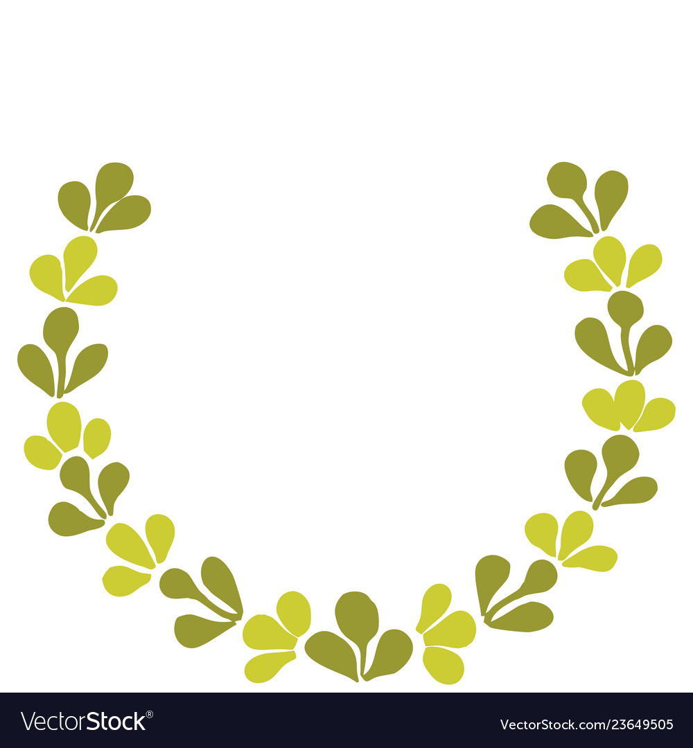 Green laurel wreath frame isolated on white.