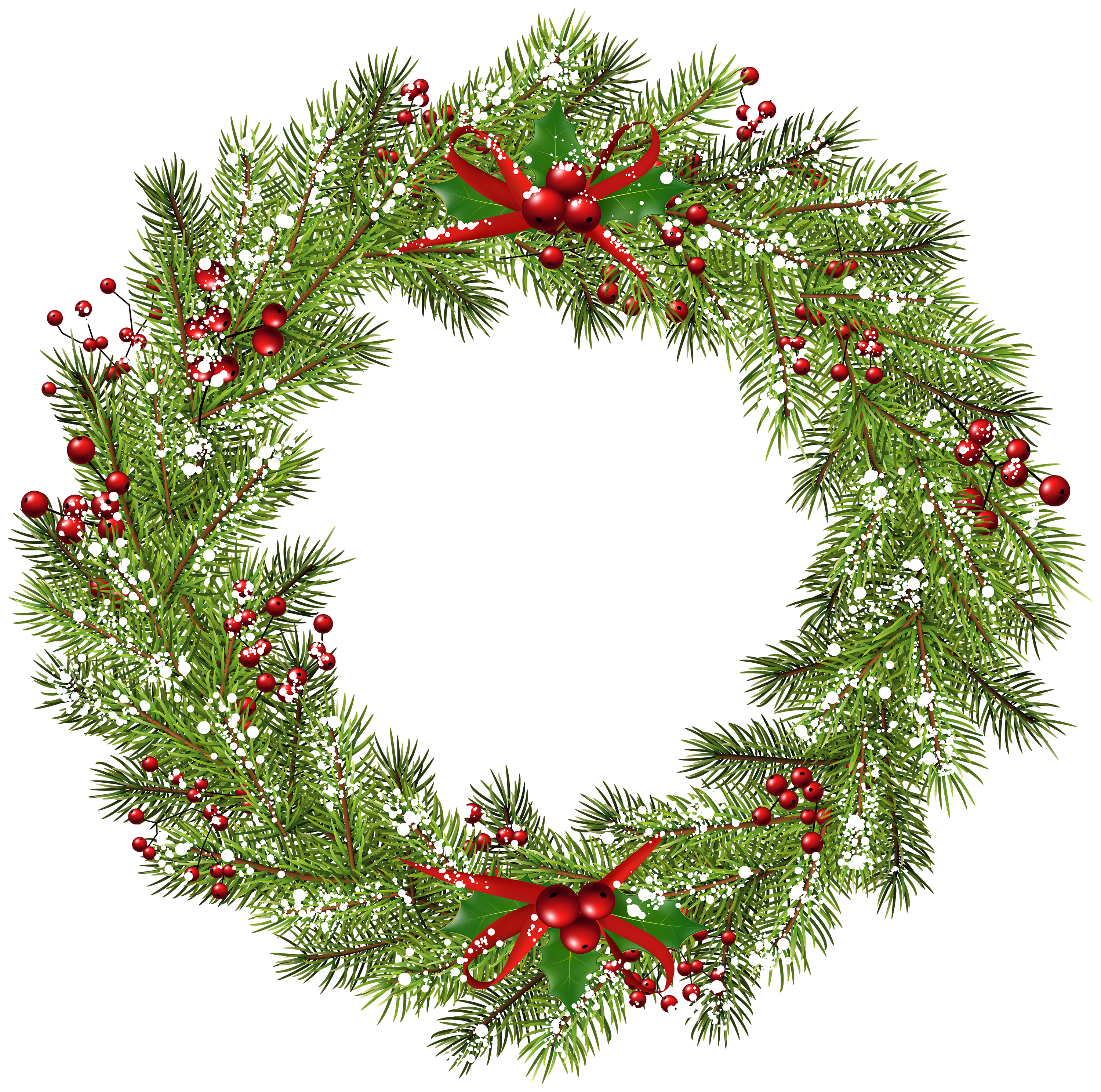 Christmas Wreath PNG Clip Art Image.