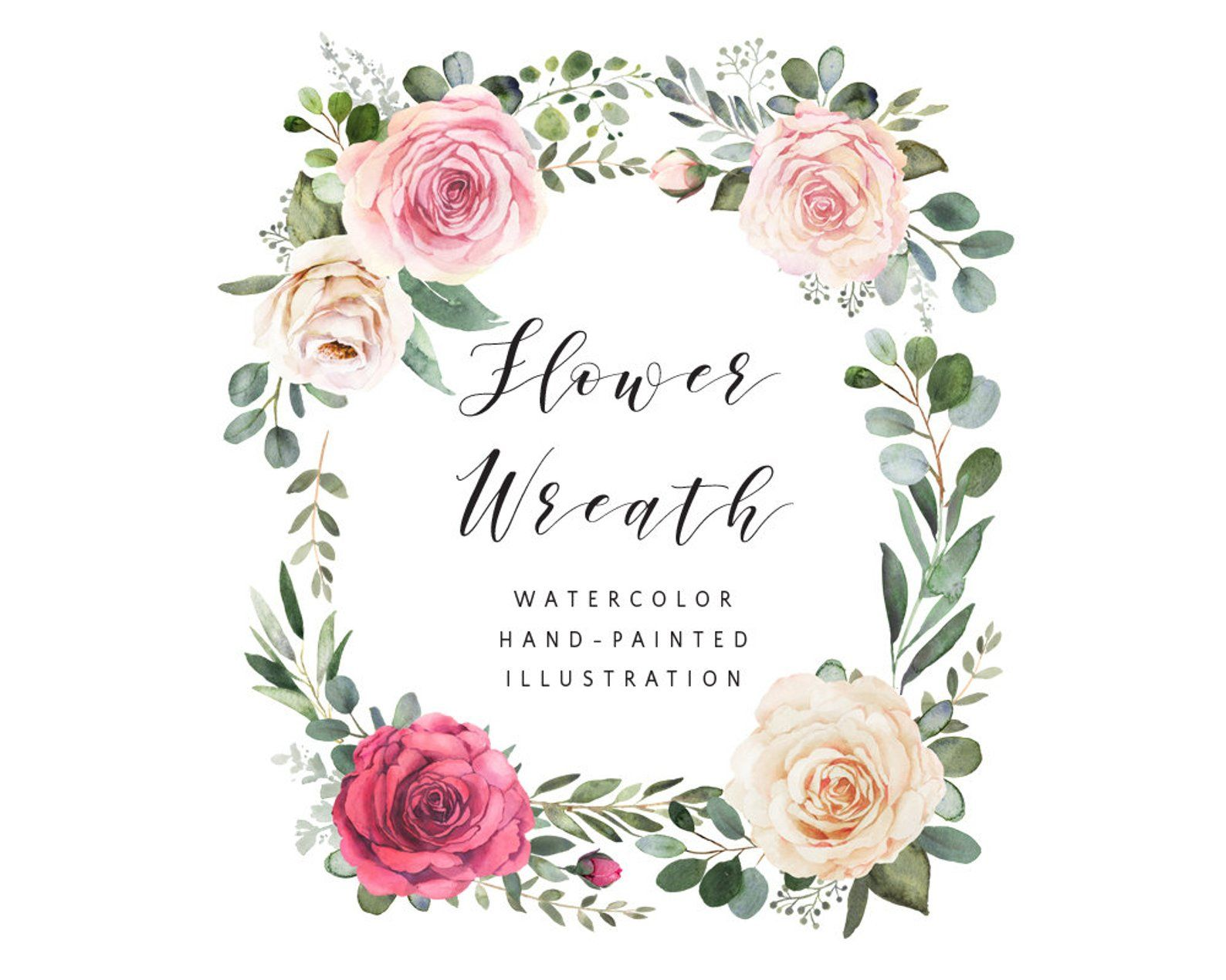 Vertical watercolor wreath flower composition with roses and.