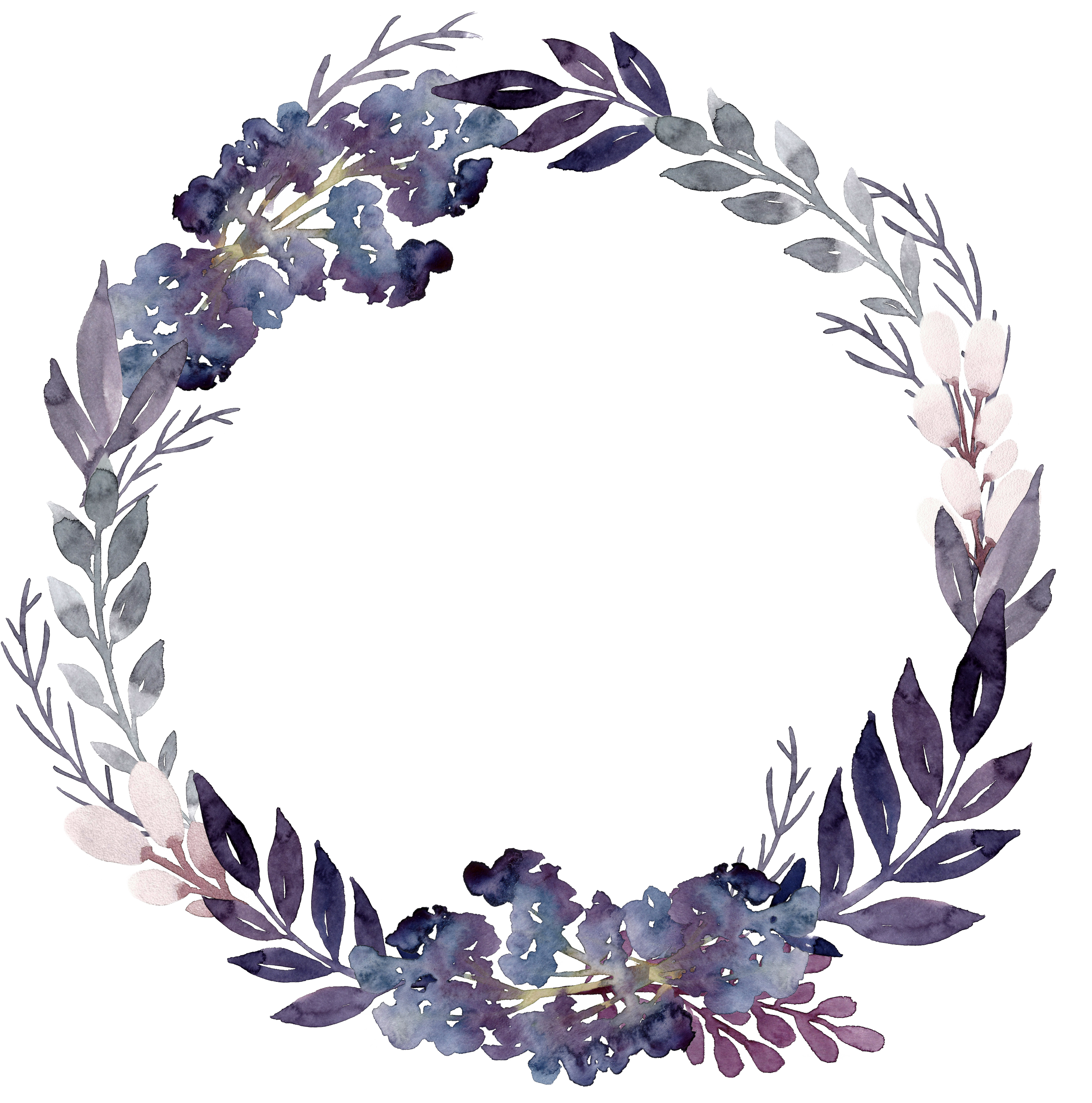 Flower Wreath Leaf Purple.