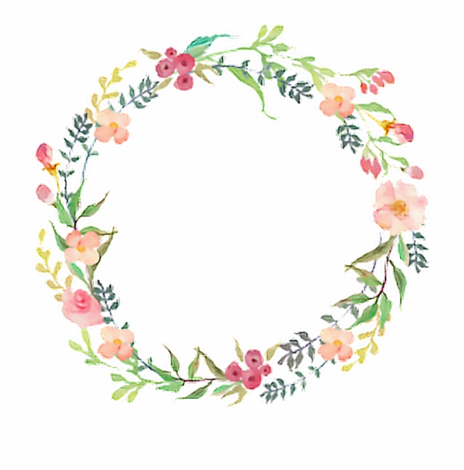 Watercolor Flower Wreath Png , Png Download.
