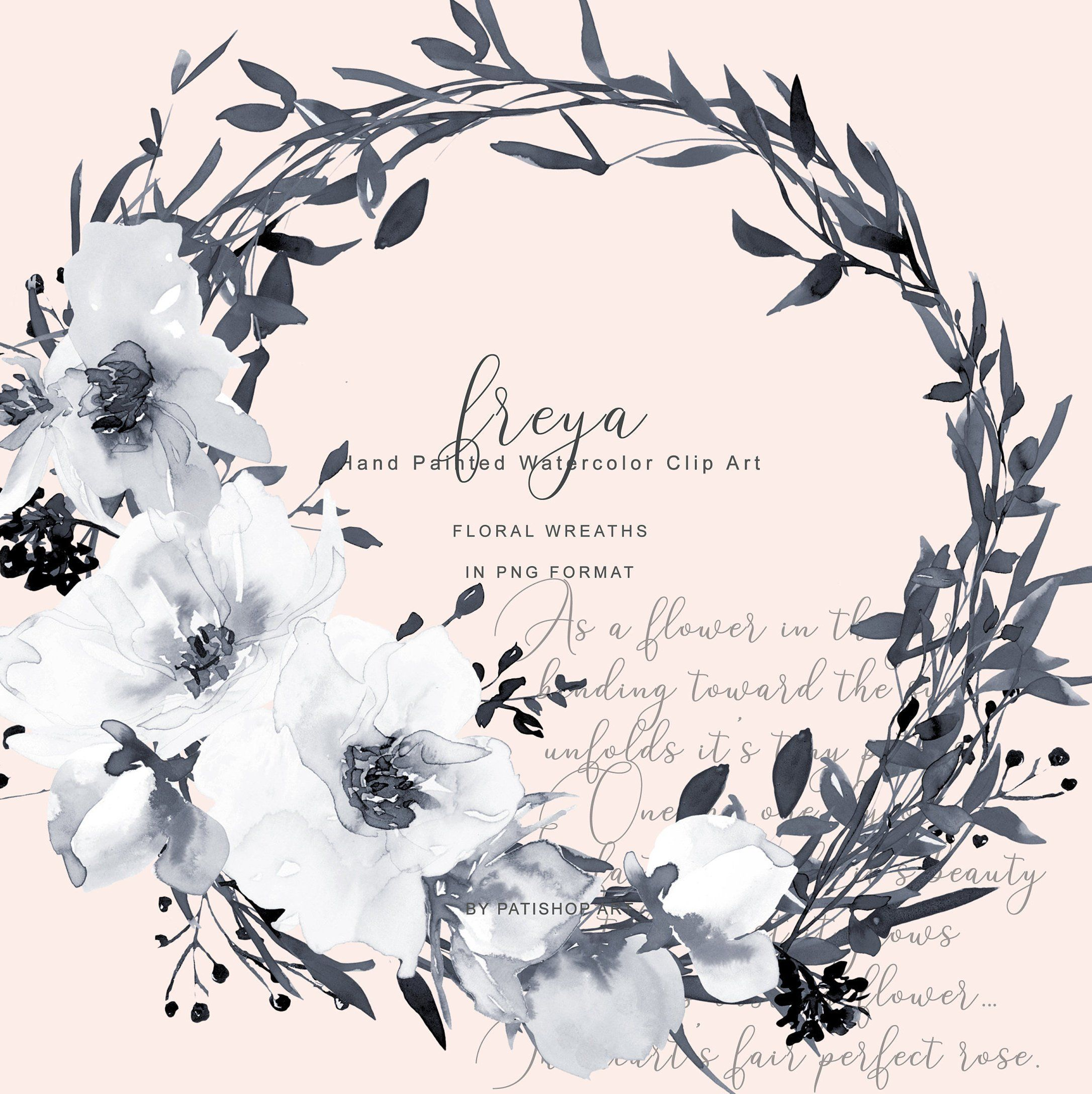 Hand Painted Watercolor Gray and White Rose Wreath Clipart.