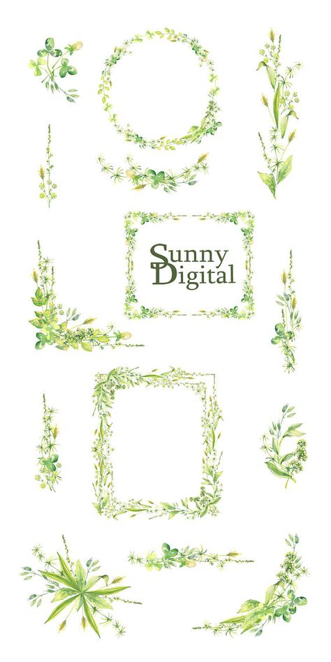 Green rectangular page border Watercolor clipart Wreath PNG.