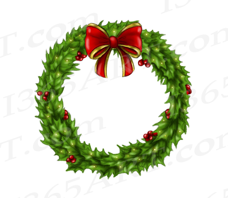 Holly Wreath Clipart, Watercolor Wreath Clip Art Graphic.