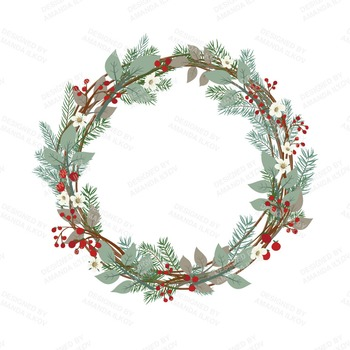 Large Rustic Pine Wreath Clip Art.