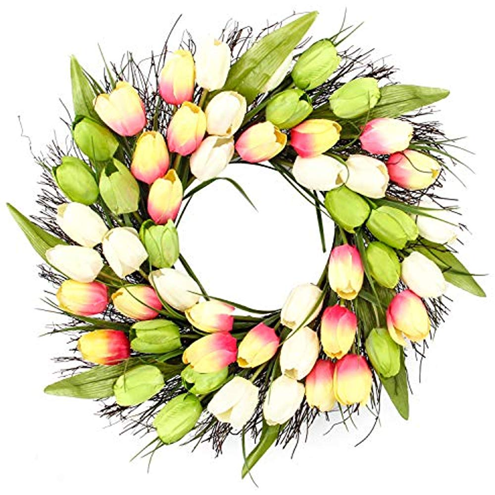 Details about 20 Inch Spring Artificial Tulip Front Door Wreath Home Décor  Window Wall \