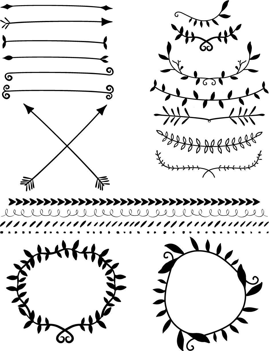 White Laurel Wreath Outline Clipart.