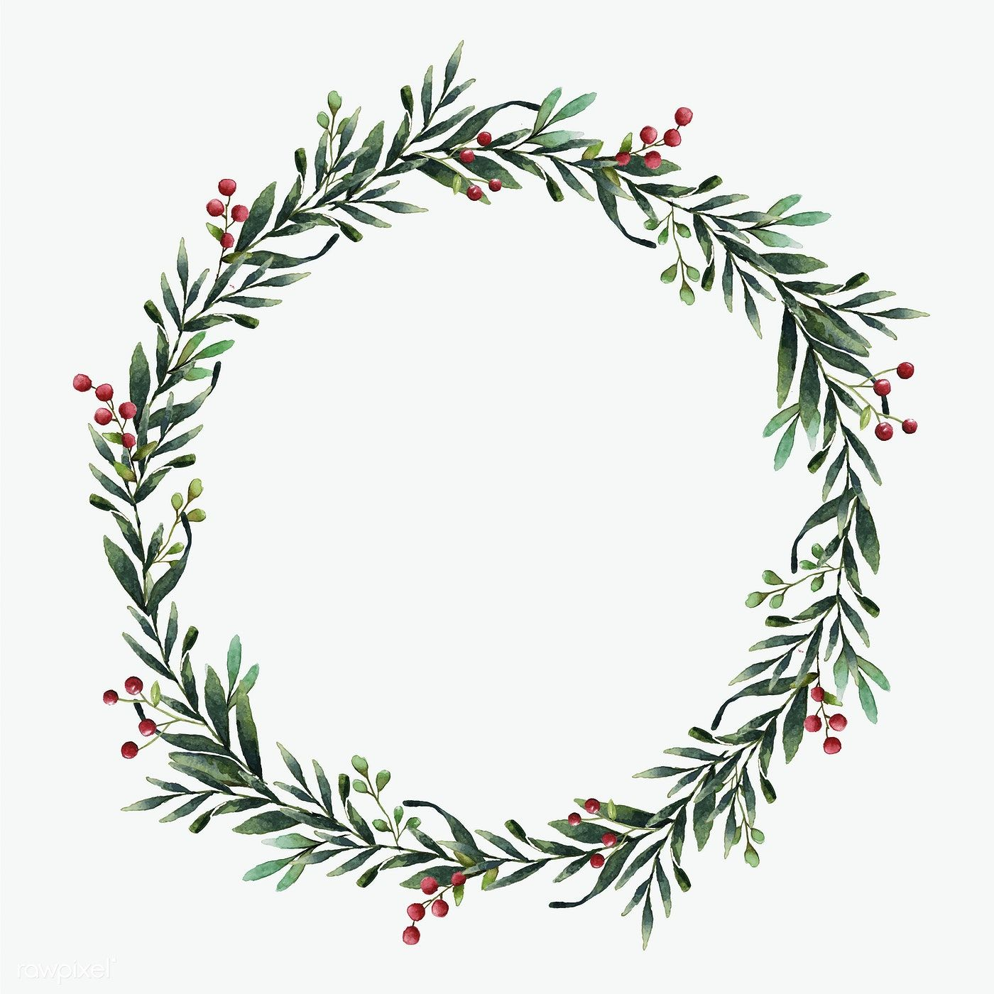 Round Christmas wreath vector watercolor style.