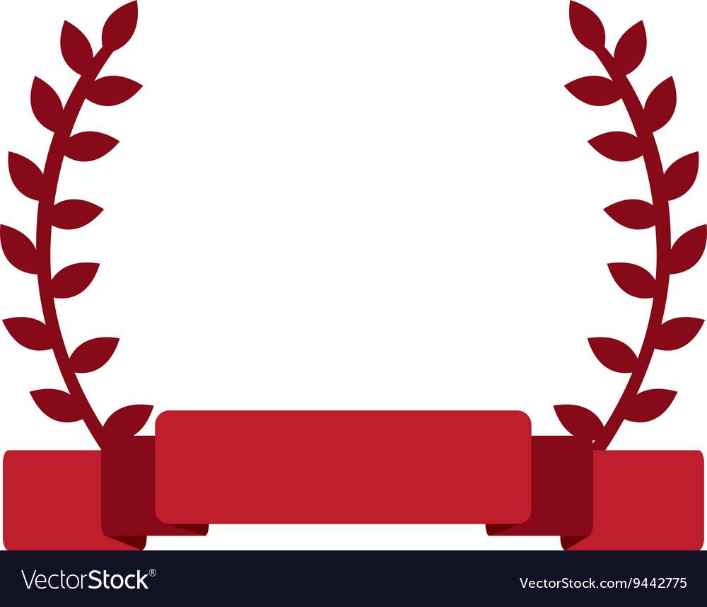 Red laurel wreath banner.