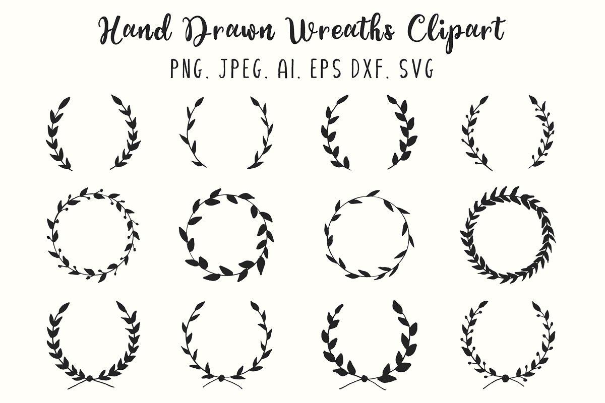 12 Hand Drawn Wreaths Clipart.