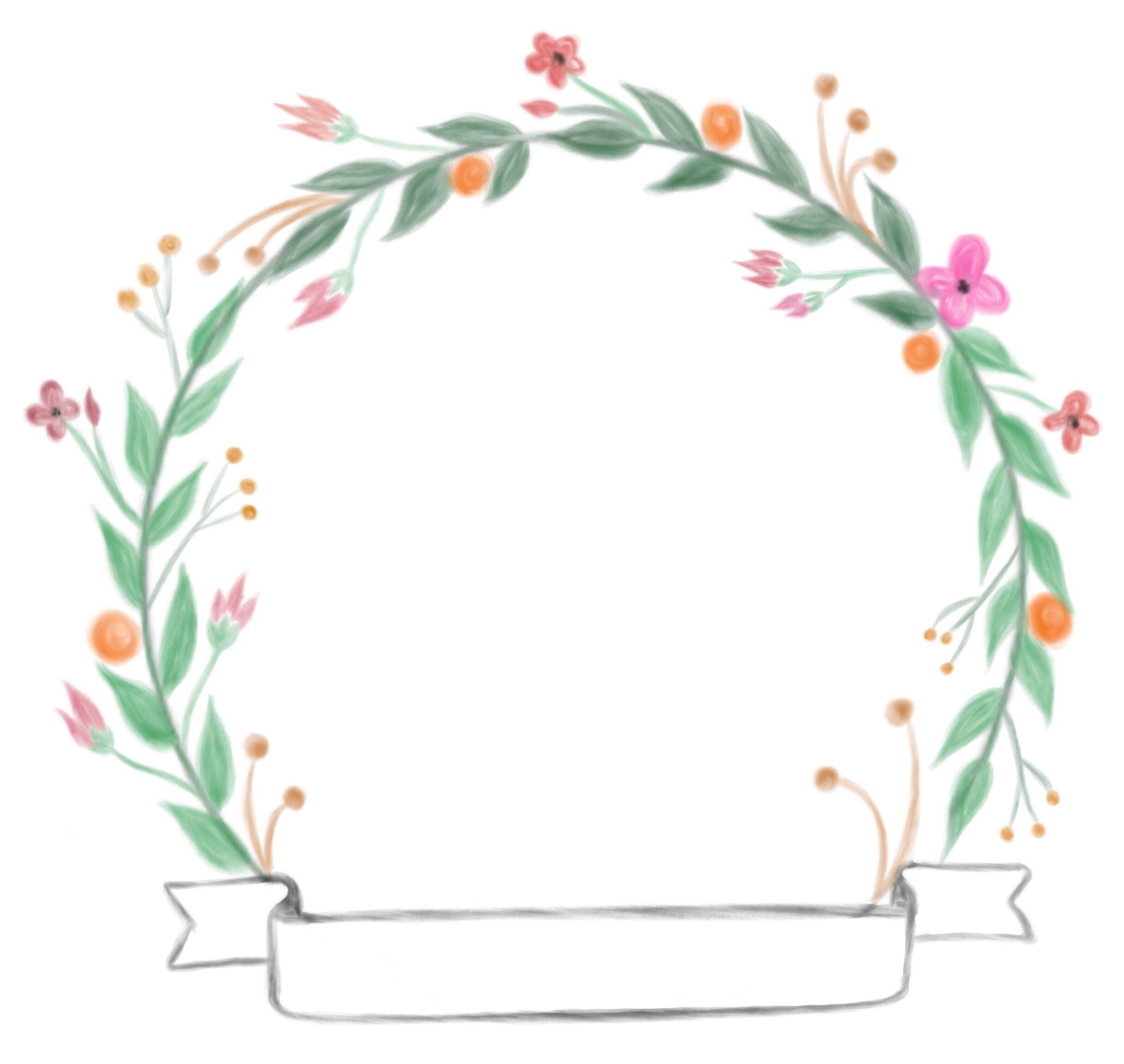 Free floral doodle watercolor aquarel wreath, flower wreath.