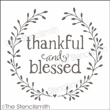 Thankful and Blessed stencil wreath grateful.