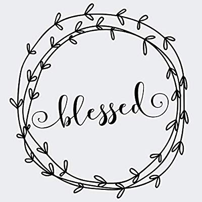 Blessed Vinyl Decal with Laurel Wreath Border.