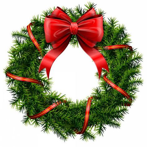 Elegant Christmas wreath with stars and bow. Description.