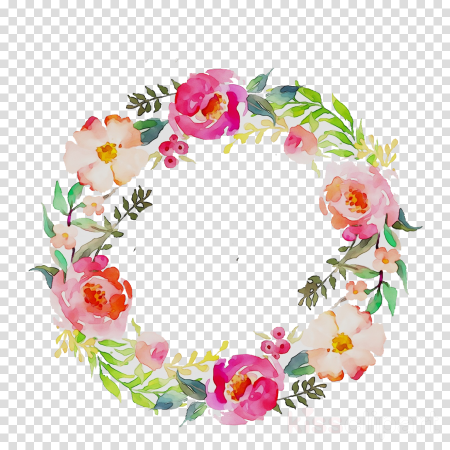 Watercolor Wreath Flower clipart.