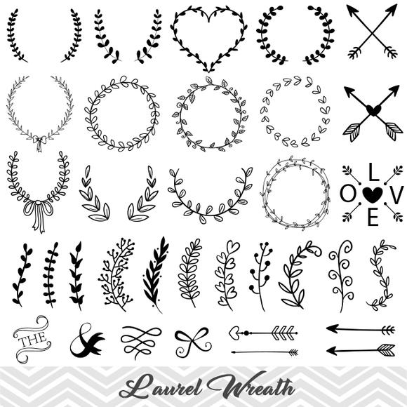 Laurel Wreath Clip Art, Laurel Wreath Leaf Clipart, Hand Drawn Leaf Laurel  Branches Clip Art, 00159.