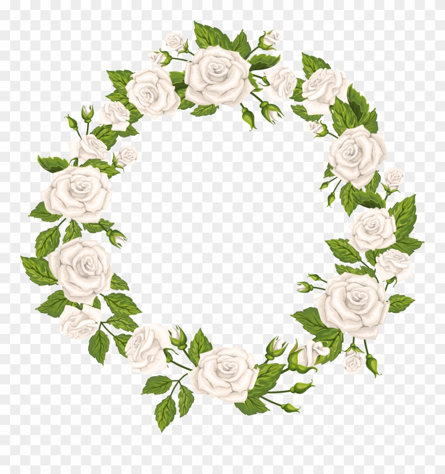 White Rose Wreath Png Clipart (#85259).