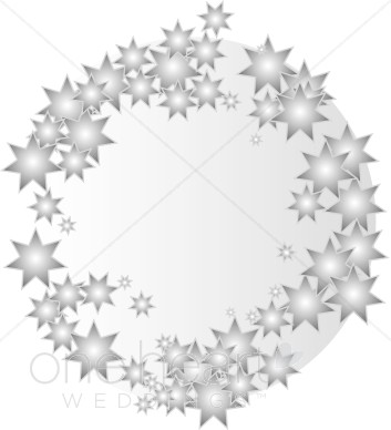 Silver Stars Wreath Clipart.