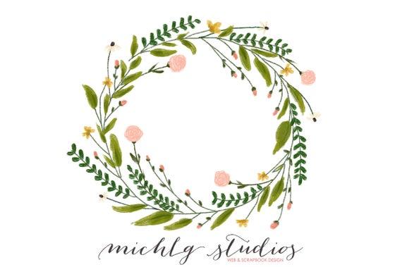 Floral wreath clipart, flower clipart, wreaths clipart, hand drawn,  whimsical, leaves, diy, logo, flowers, wedding clip art.