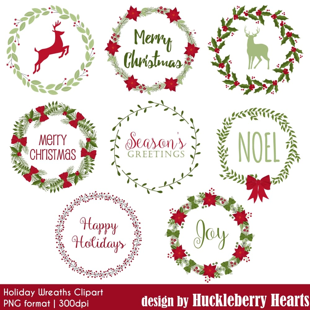 Holiday Wreaths Clipart.