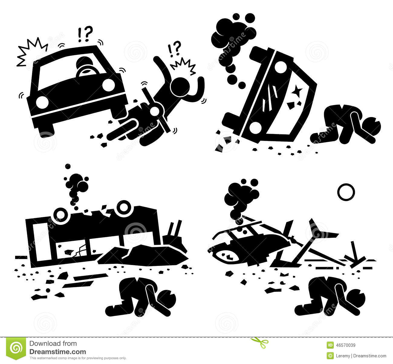 Motorcycle wreck clipart.