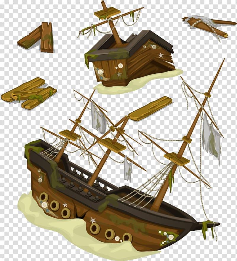Shipwreck Illustration, sailing and wreckage transparent.