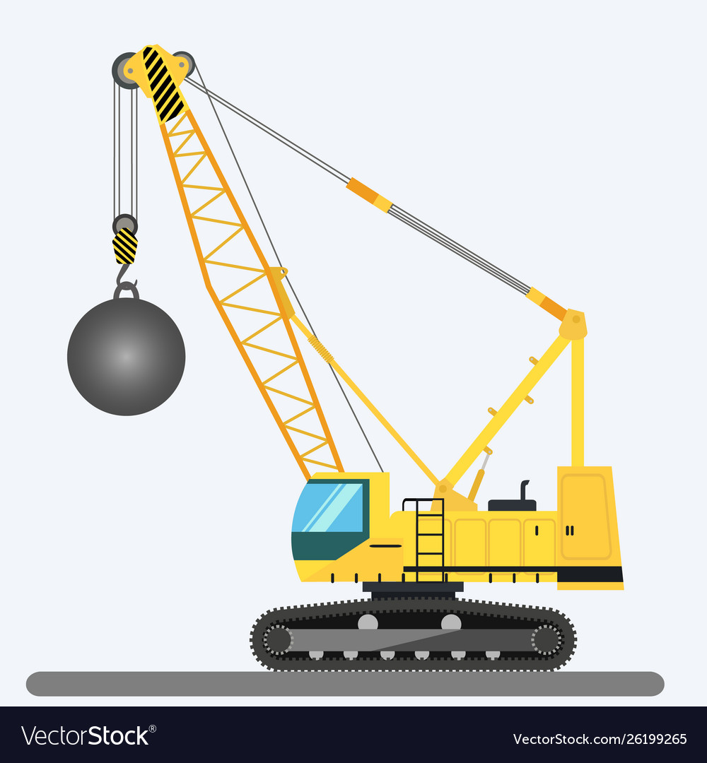 Wrecking ball crane heavy machinery.