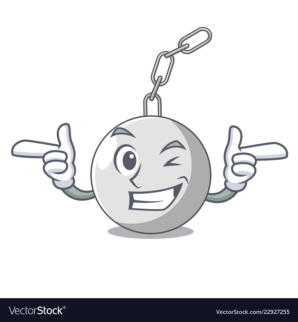 Wink wrecking ball hanging from chain cartoon.