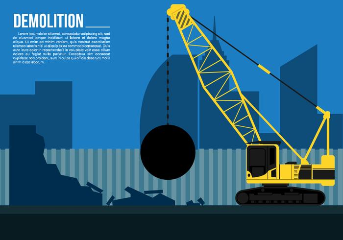 Wrecking Ball Demolition Crane Free Vector.