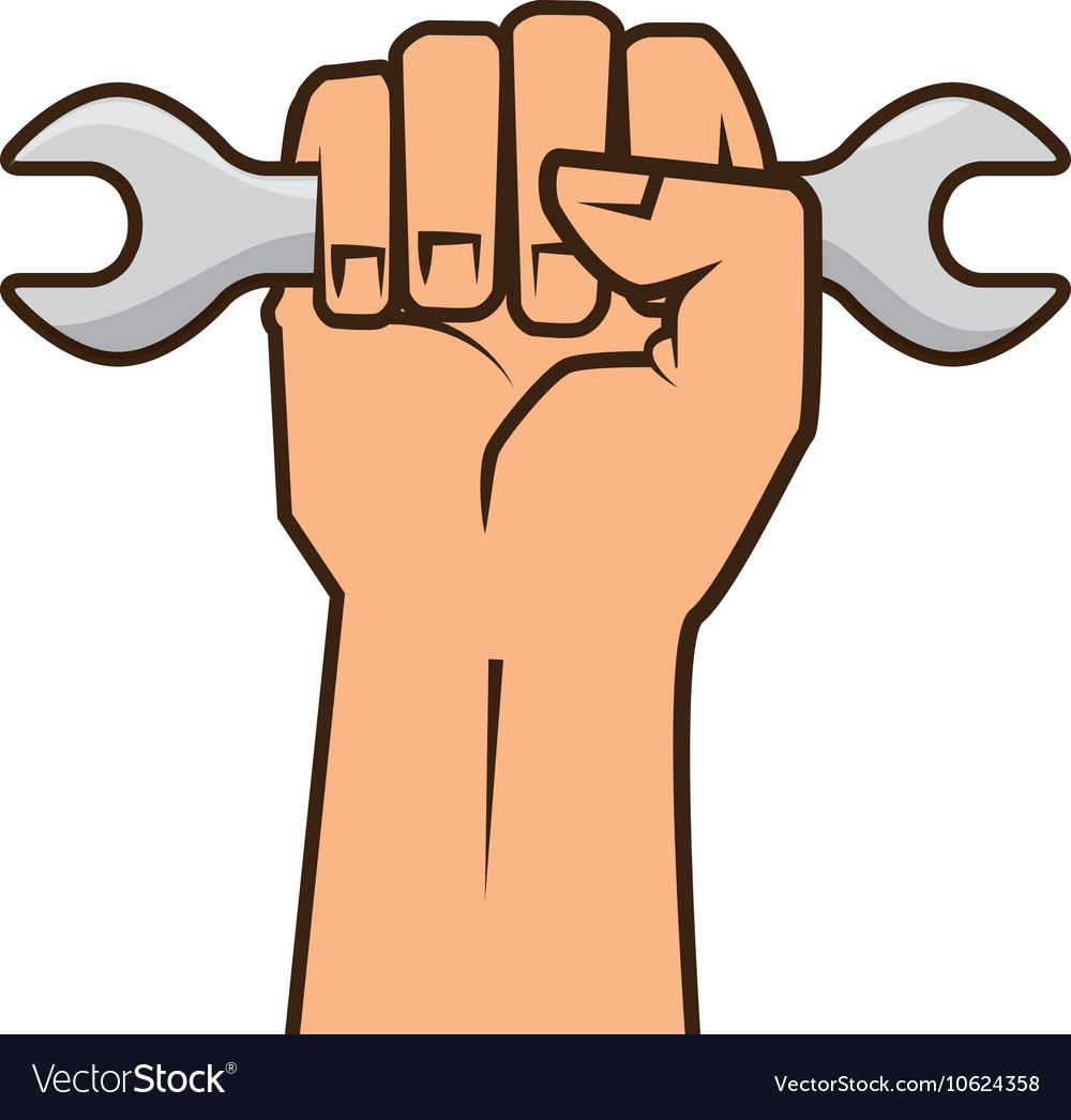 Hand holding a wrench tool.
