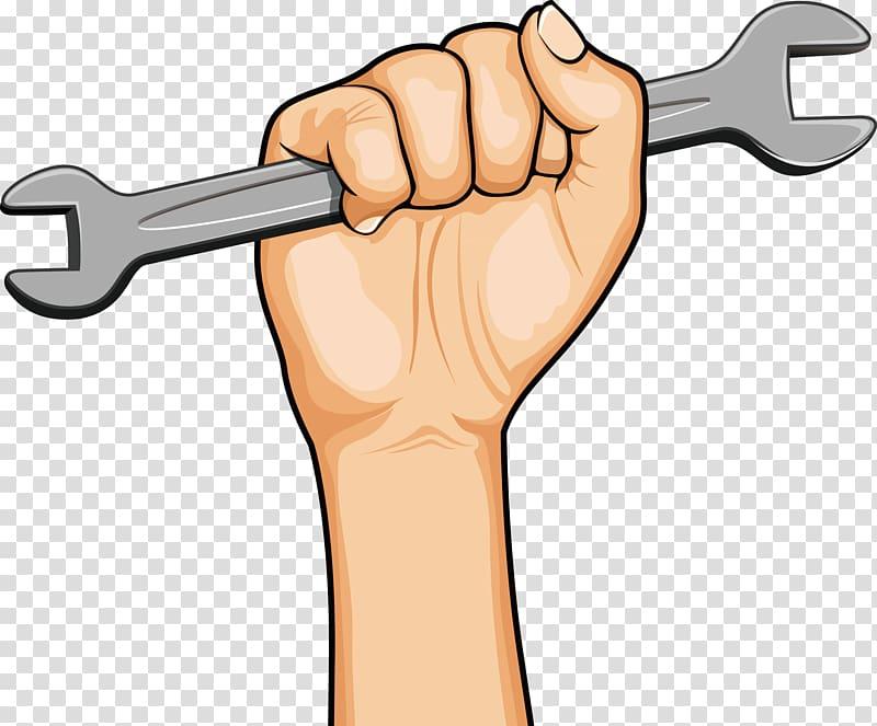 Hand holding open wrench tool illustration, Thumb Cartoon.