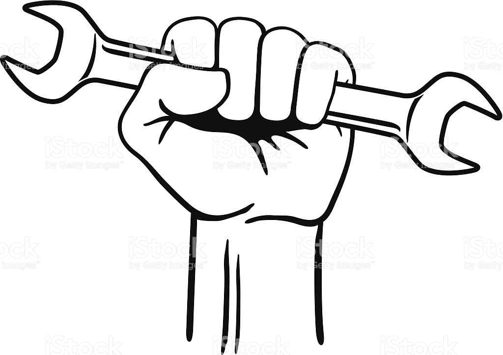 Wrench In Hand Clipart Black And White.