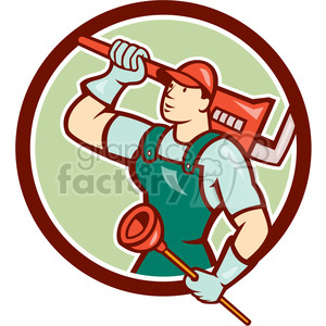 plumber wrench plunger looking up CIRC clipart. Royalty.