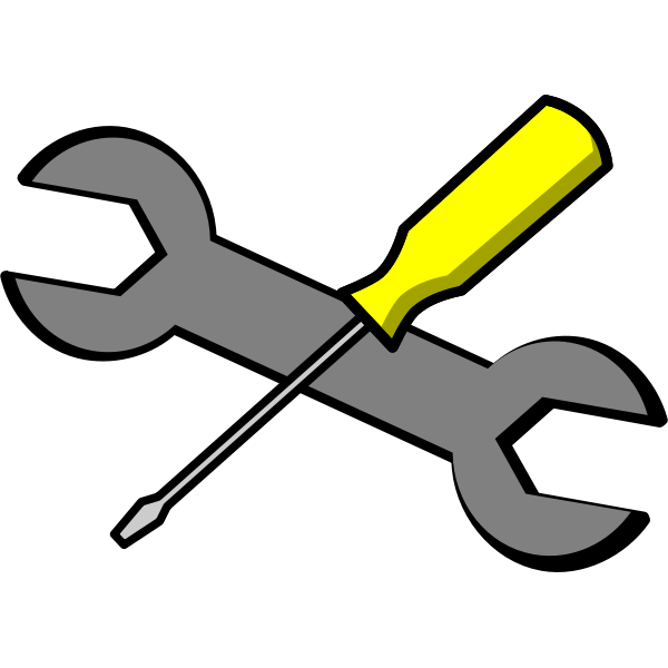 Screwdriver and wrench vector icon.
