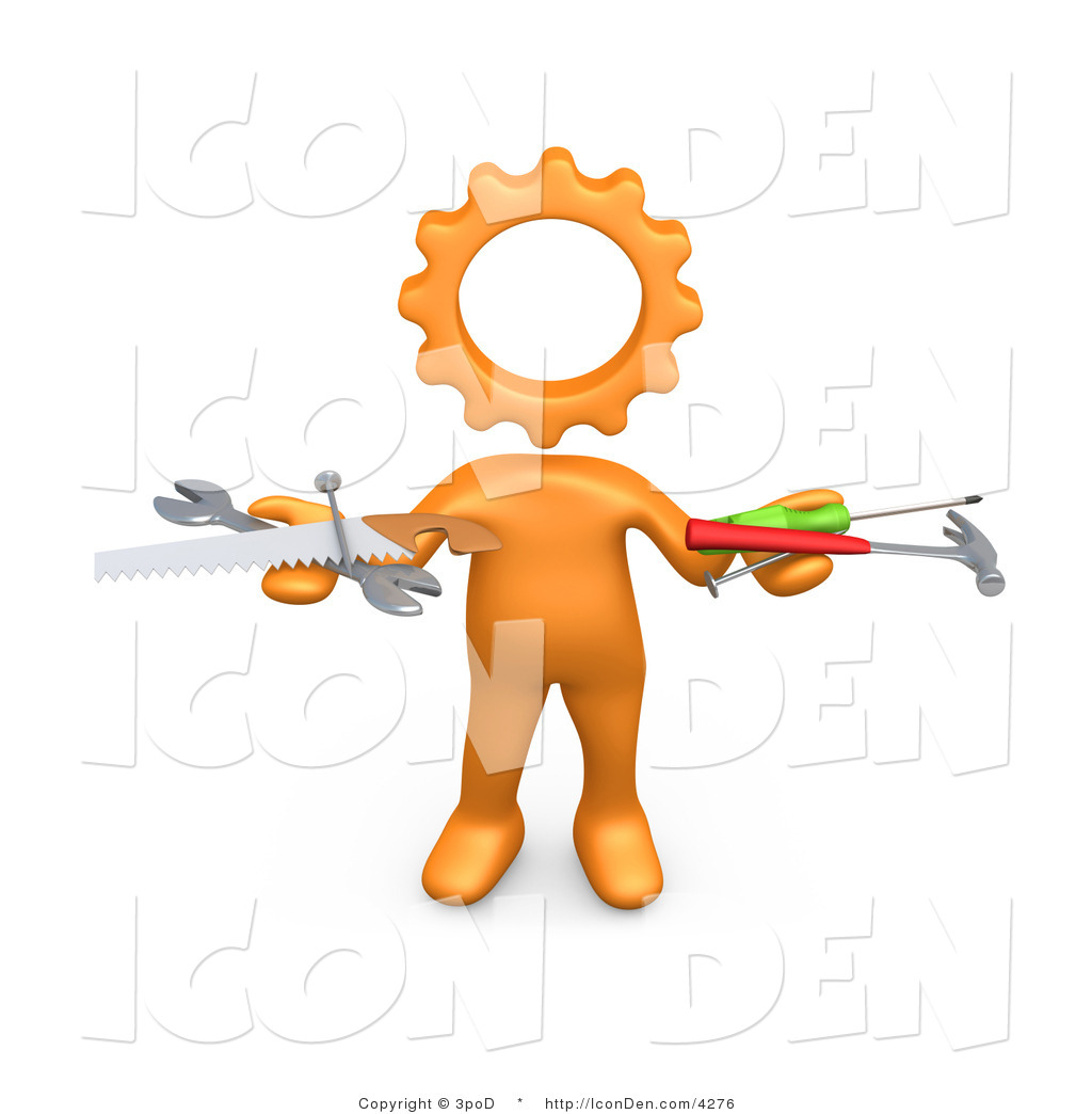 Clip Art of an Orange Person with a Gear Head, Holding Nails.