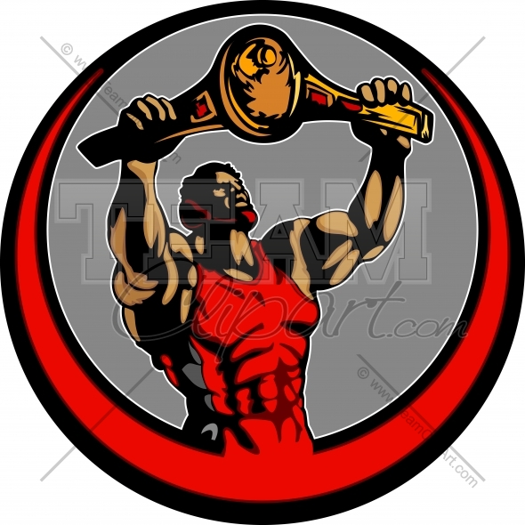 Wrestler Holding up Victory Belt Clipart Image.