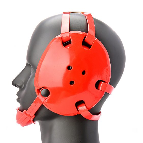 Geyi Red Wrestling Headgear with chin cup.